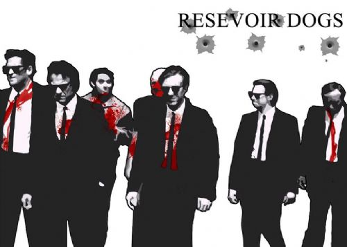 1990's Movie - RESERVOIR DOGS - BULLETS AND BLOOD/ canvas print - self adhesive poster - photo print